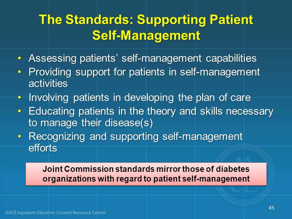 The Standards: Supporting Patient Self-Management