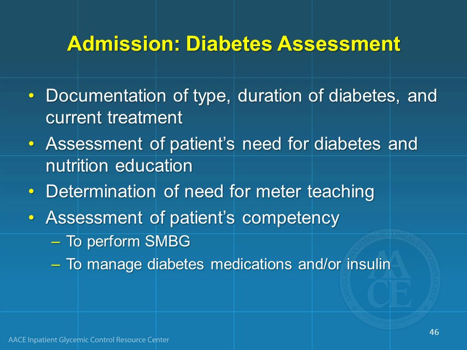 Admission: Diabetes Assessment