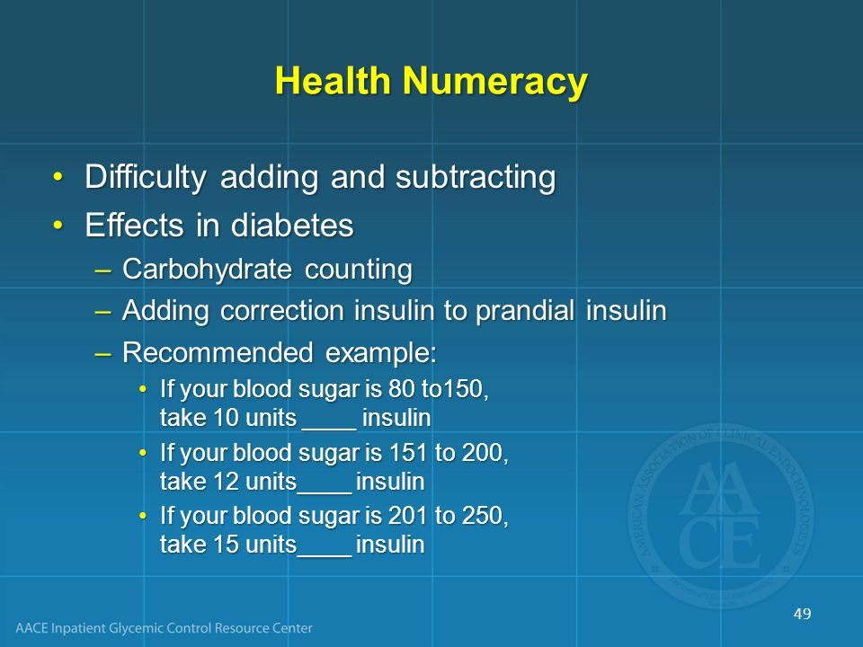 Health Numeracy Difficulty adding and subtracting Effects in diabetes