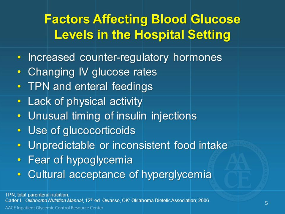 Factors Affecting Blood Glucose Levels in the Hospital Setting