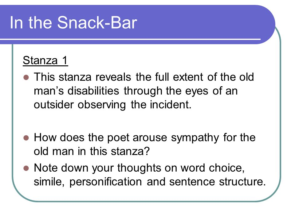 In the Snack-Bar Stanza 1