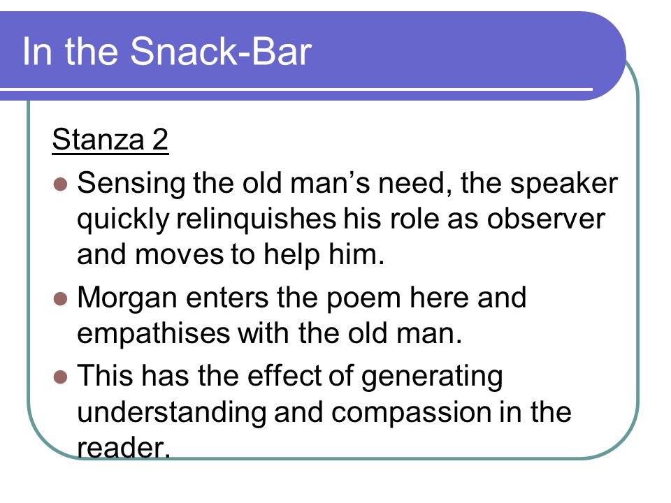 In the Snack-Bar Stanza 2