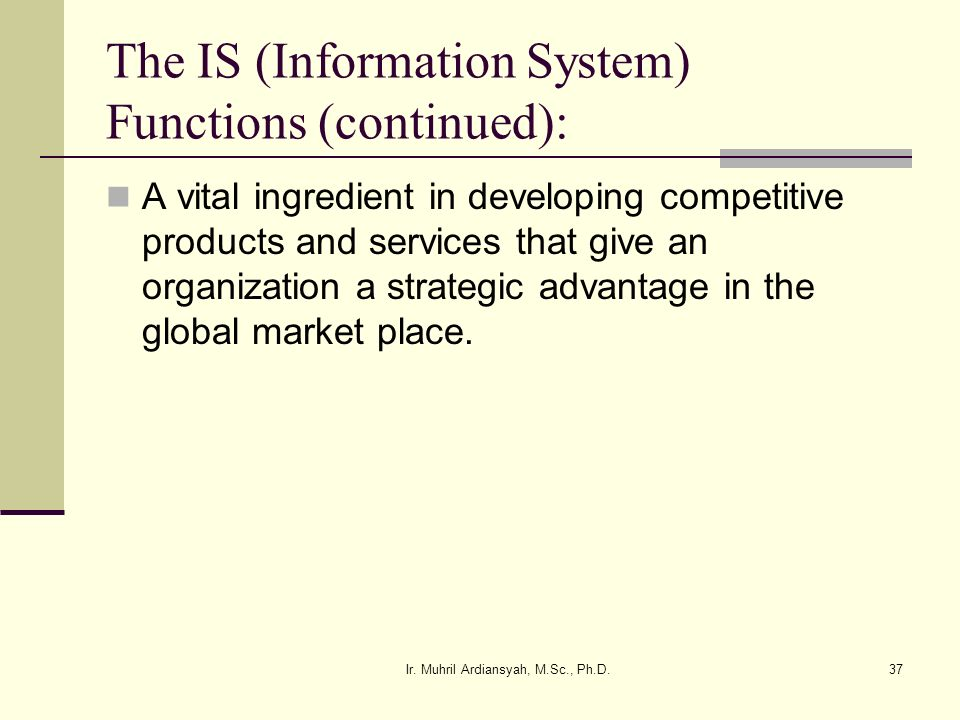 The IS (Information System) Functions (continued):
