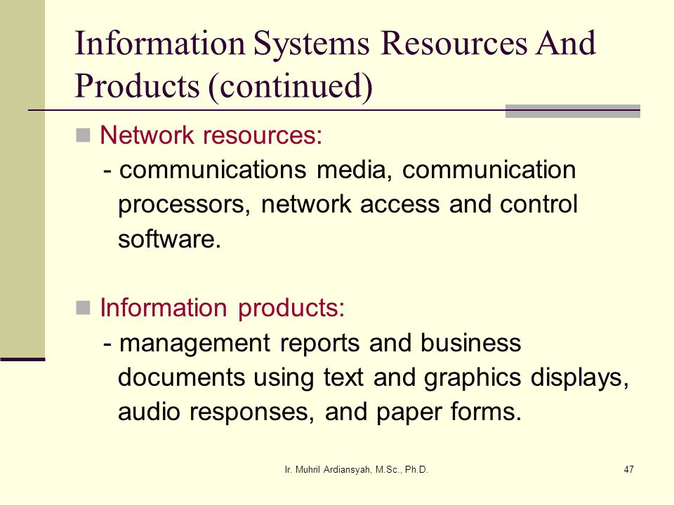 Information Systems Resources And Products (continued)
