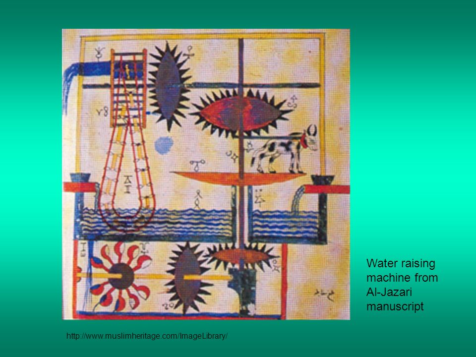 Water raising machine from Al-Jazari manuscript