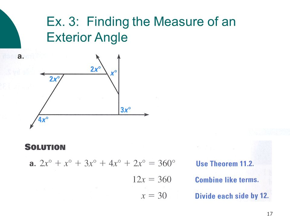 Ex. 3: Finding the Measure of an Exterior Angle
