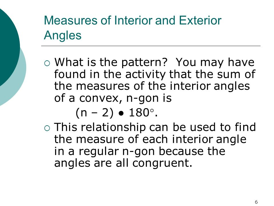Measures of Interior and Exterior Angles