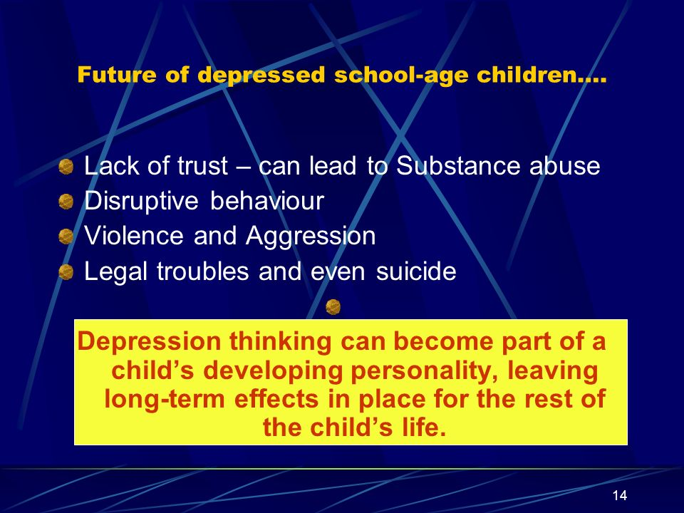 Future of depressed school-age children….