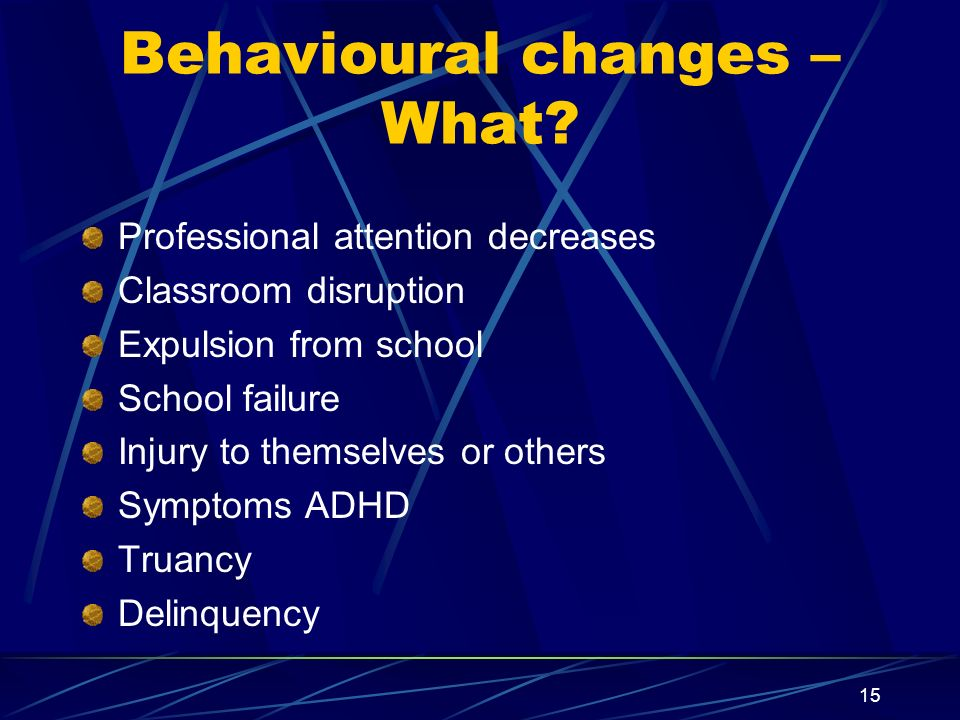 Behavioural changes – What