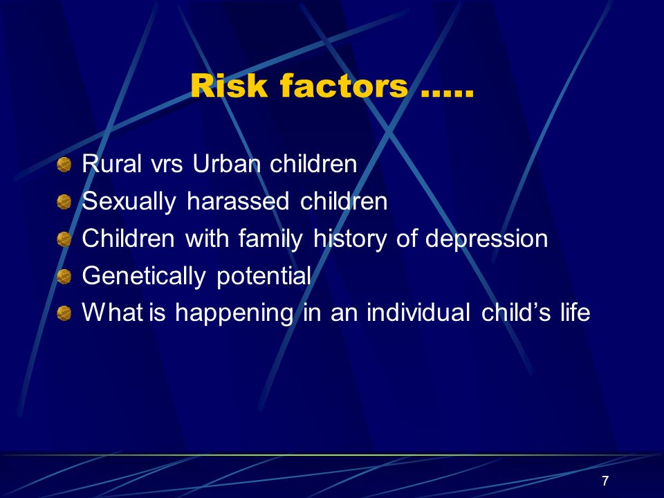 Risk factors ….. Rural vrs Urban children Sexually harassed children