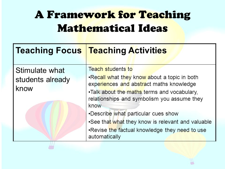 the teaching of mathematics should focus How math should be taught the two teaching approaches have clear differ-ences in skills-based instruction, teach-ers focus on developing computational skills and recall of facts in the second approach, teachers encourage students to explain how they arrived at a solu-tion and to consider more than one way of solving a problem.