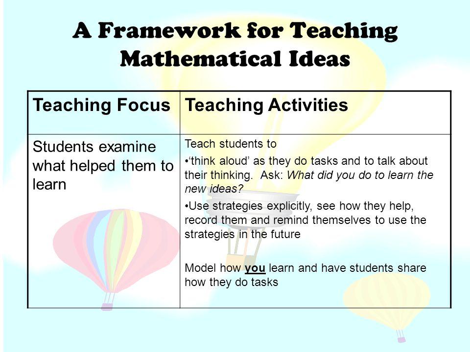 A Framework for Teaching Mathematical Ideas