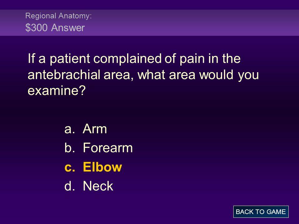 Regional Anatomy: $300 Answer
