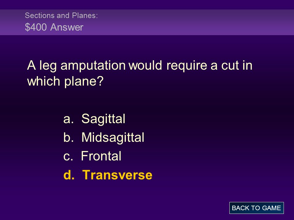 Sections and Planes: $400 Answer