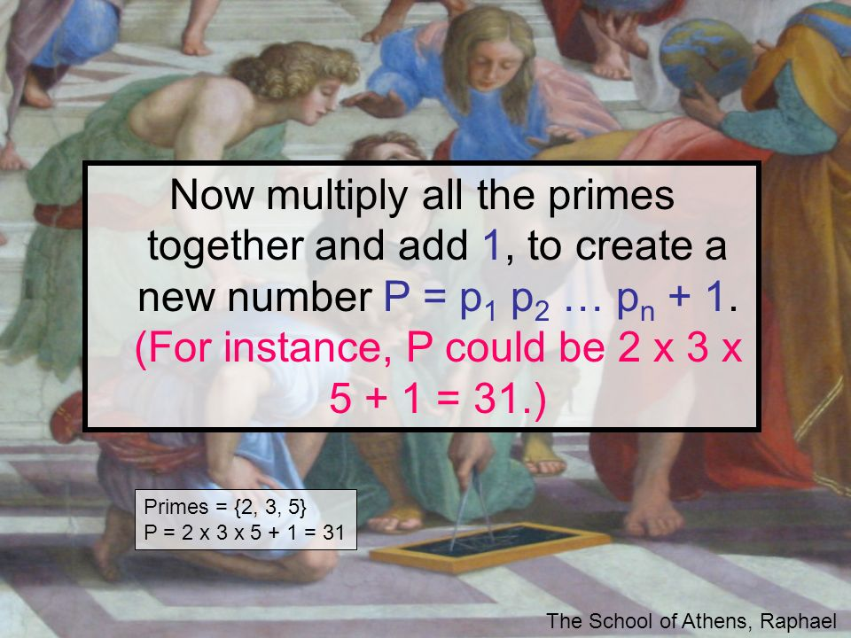 Now multiply all the primes together and add 1, to create a new number P = p1 p2 … pn + 1. (For instance, P could be 2 x 3 x = 31.)