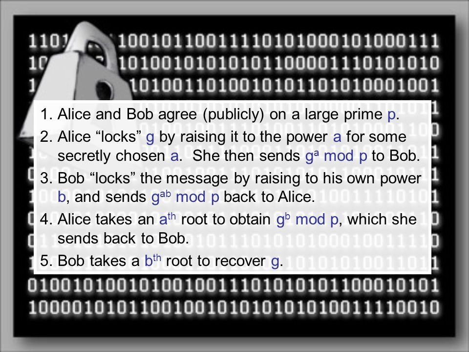 Alice and Bob agree (publicly) on a large prime p.