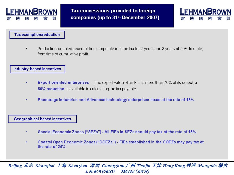 Tax concessions provided to foreign companies (up to 31st December 2007)