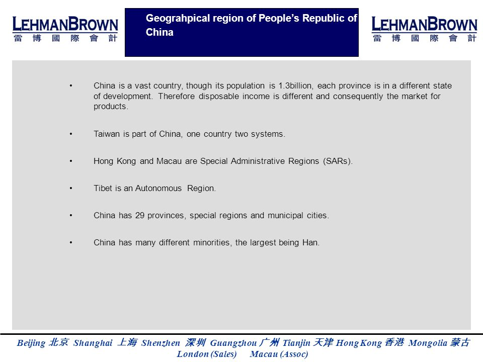 Geograhpical region of People's Republic of China