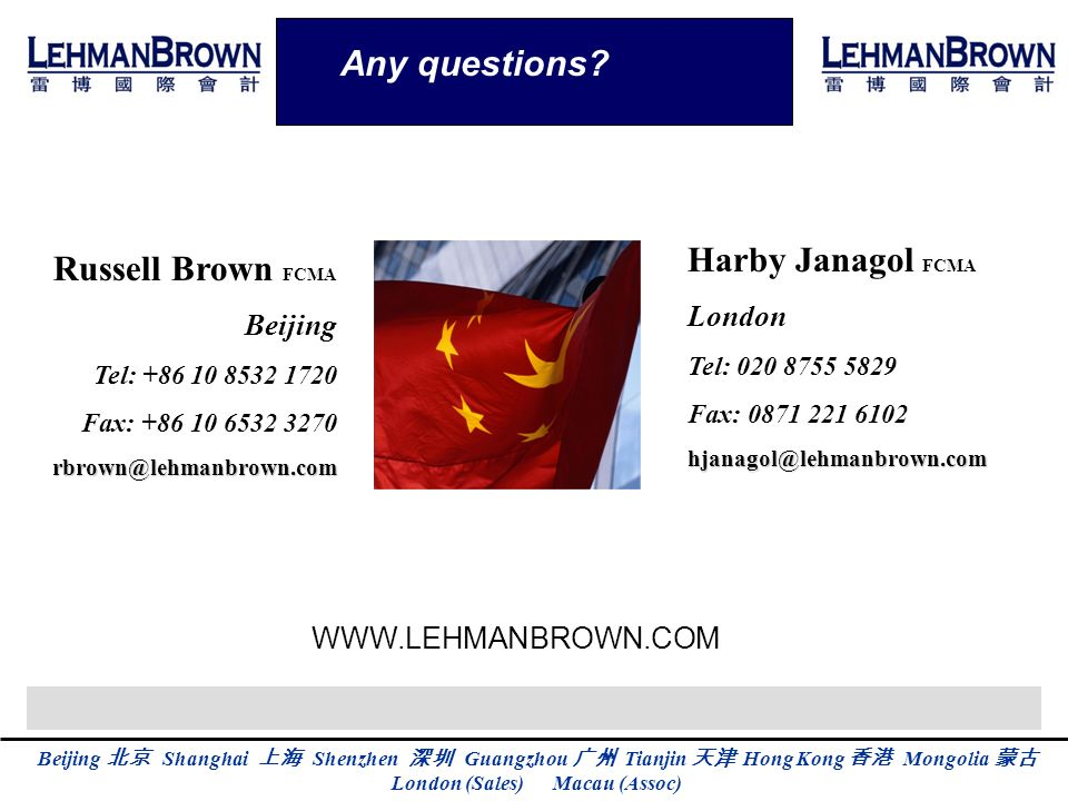 Any questions Harby Janagol FCMA Russell Brown FCMA London Beijing