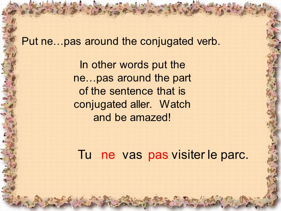 Tu ne vas pas visiter le parc. Put ne…pas around the conjugated verb.