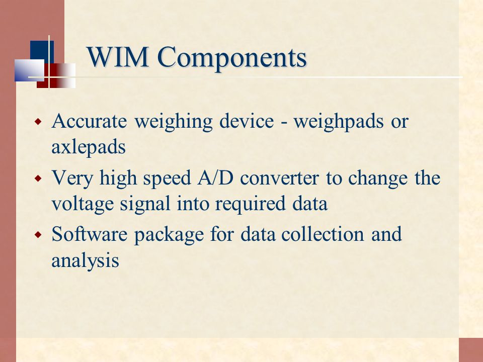 WIM Components Accurate weighing device - weighpads or axlepads