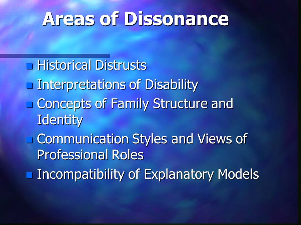 Areas of Dissonance Historical Distrusts Interpretations of Disability