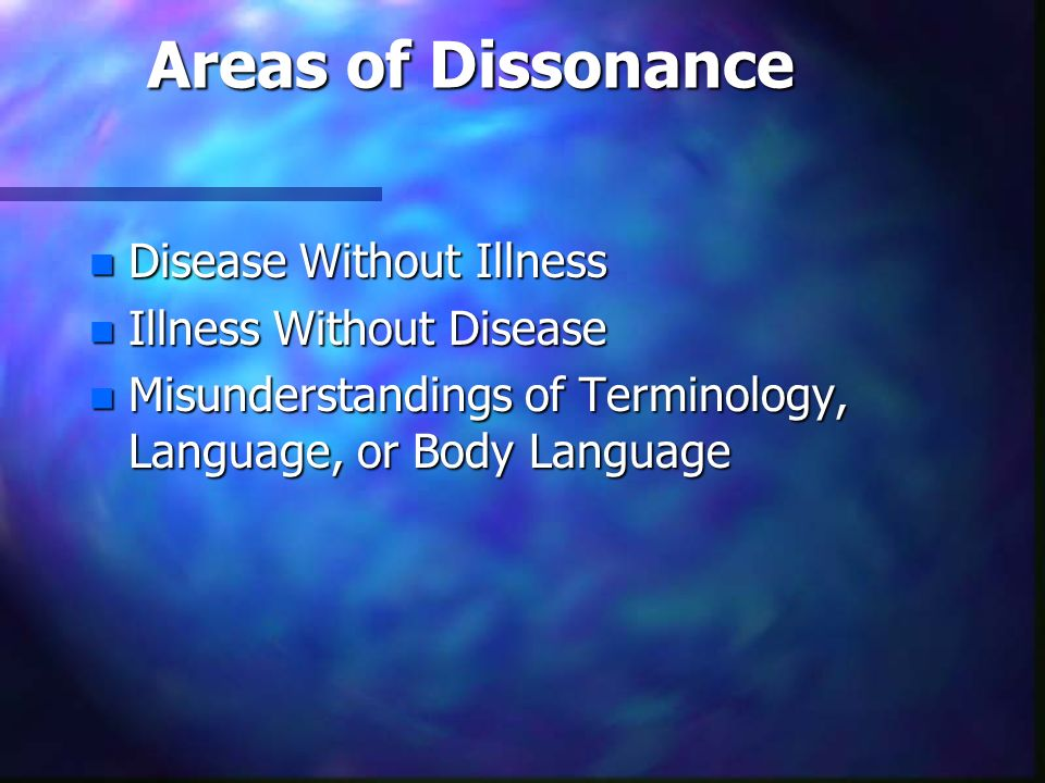 Areas of Dissonance Disease Without Illness Illness Without Disease