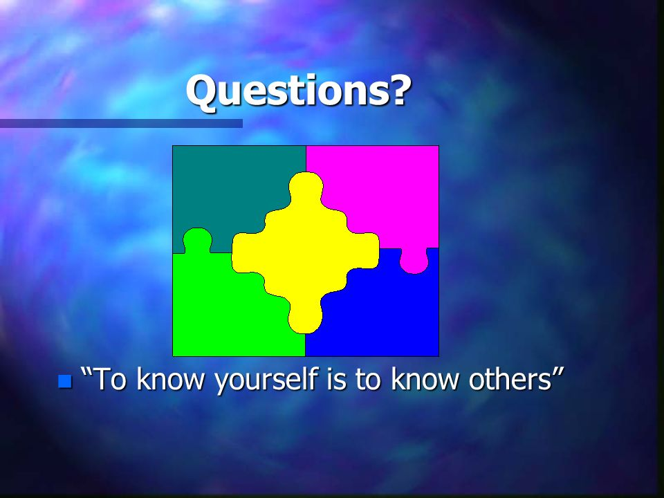 Questions To know yourself is to know others