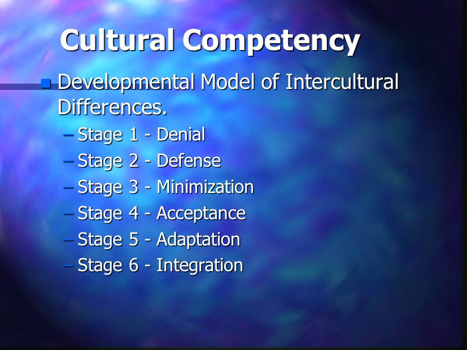 Cultural Competency Developmental Model of Intercultural Differences.