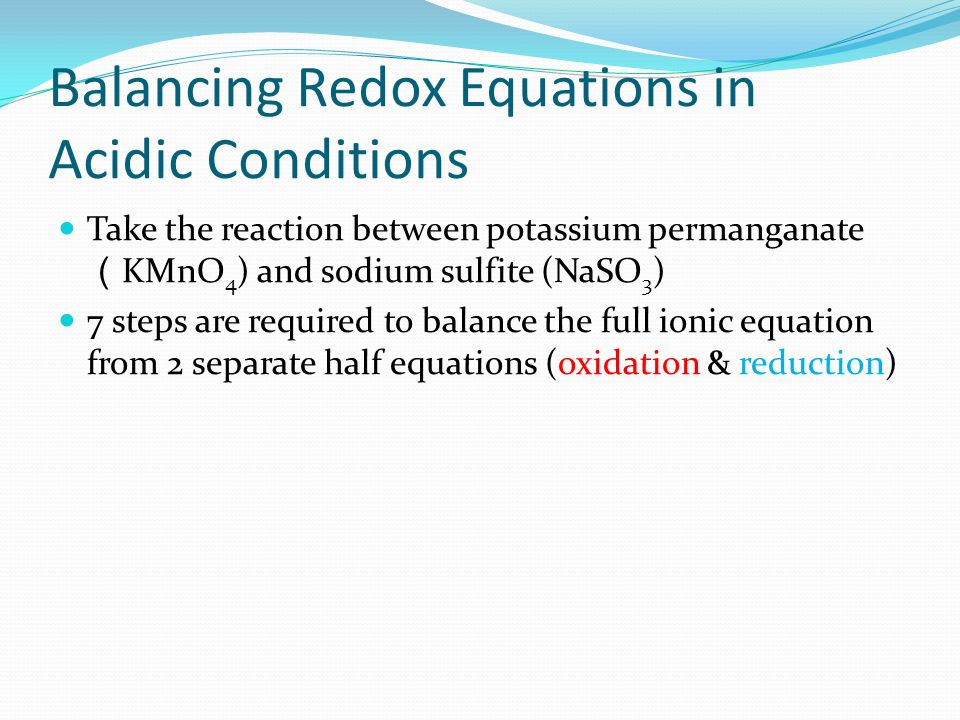 Balancing Redox Equations in Acidic Conditions