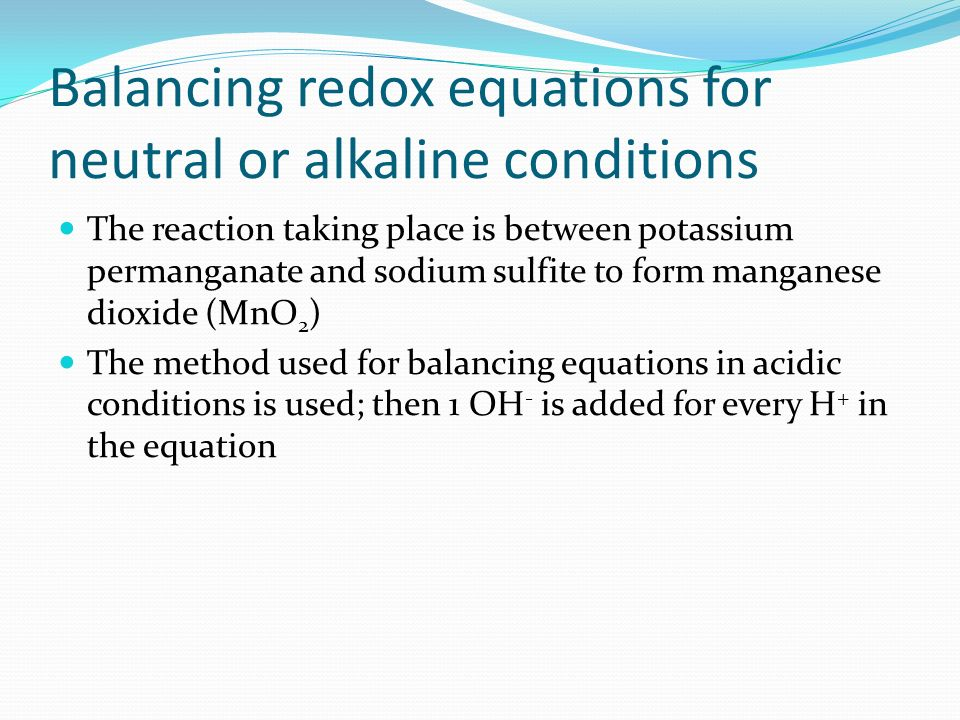 Balancing redox equations for neutral or alkaline conditions