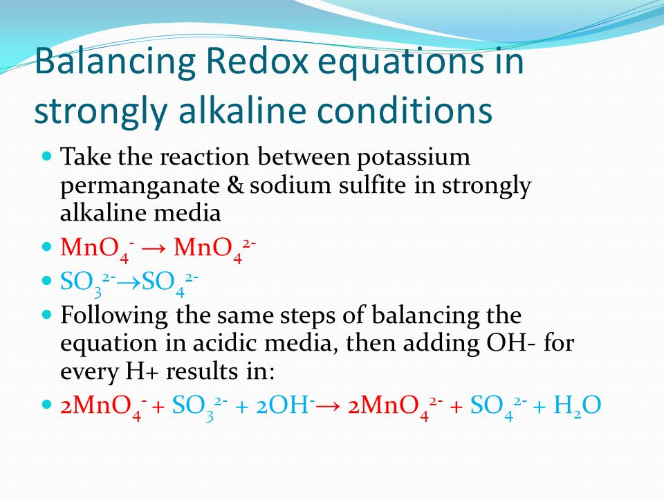 Balancing Redox equations in strongly alkaline conditions
