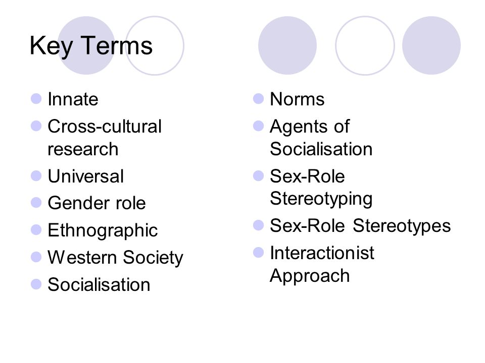 Key Terms Innate Cross-cultural research Universal Gender role