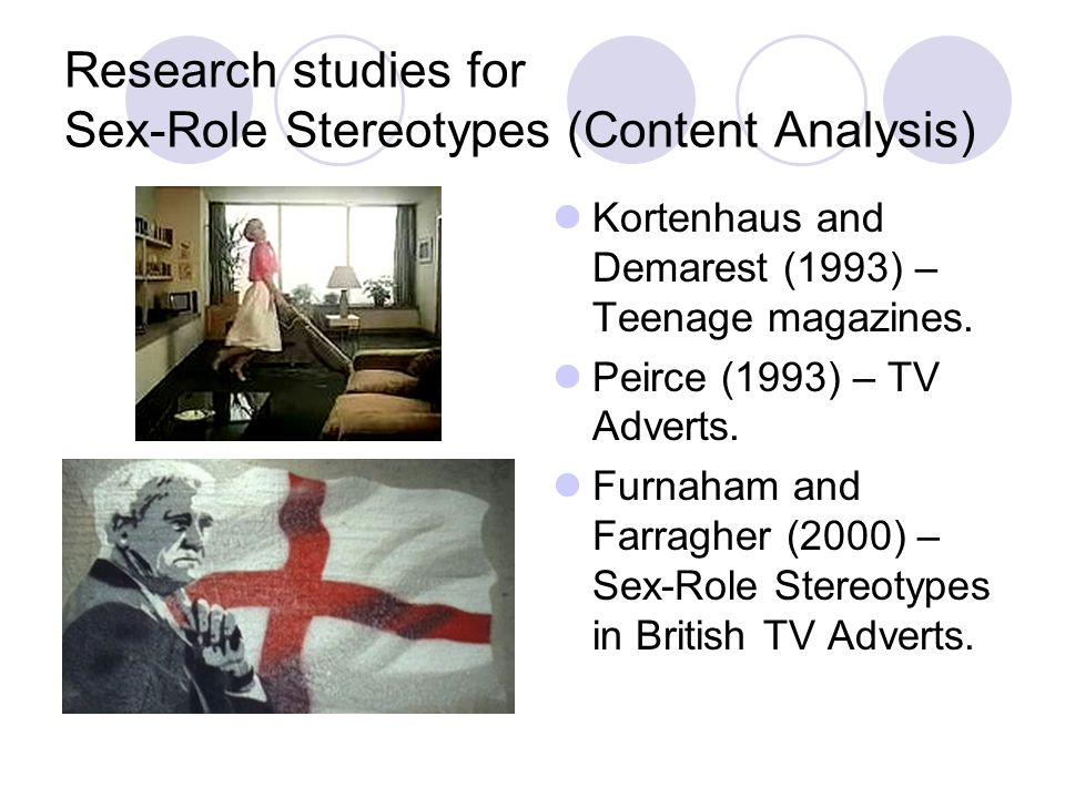 Research studies for Sex-Role Stereotypes (Content Analysis)
