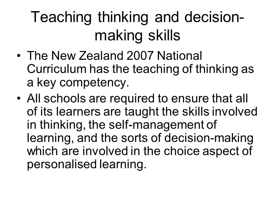 Teaching thinking and decision-making skills