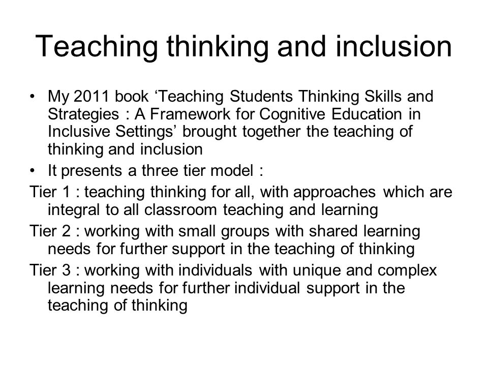 Teaching thinking and inclusion