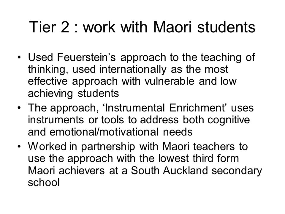 Tier 2 : work with Maori students
