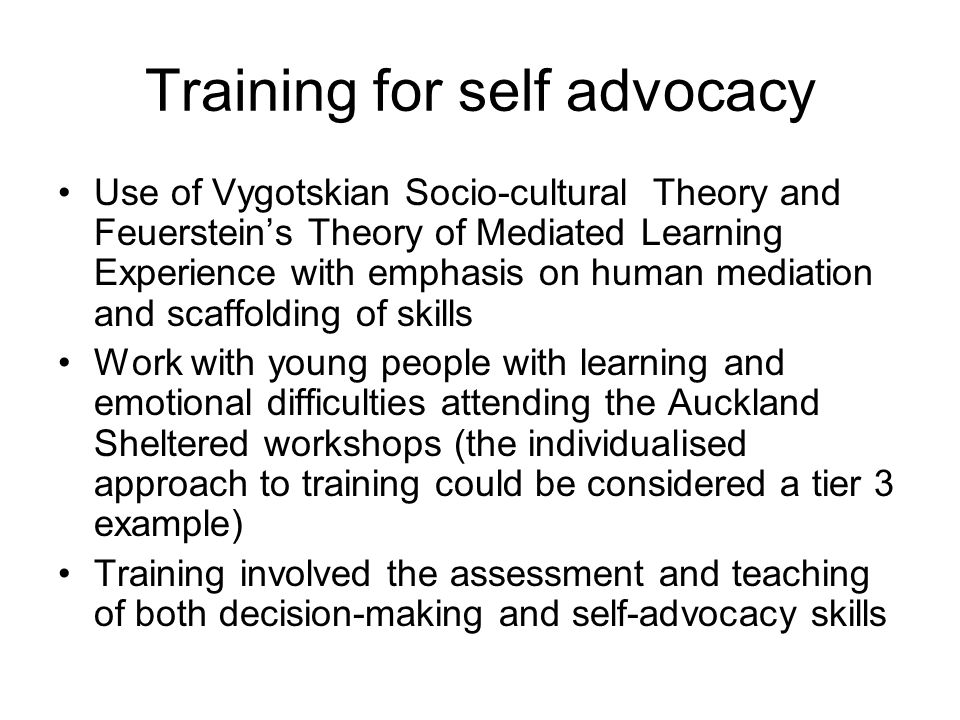 Training for self advocacy