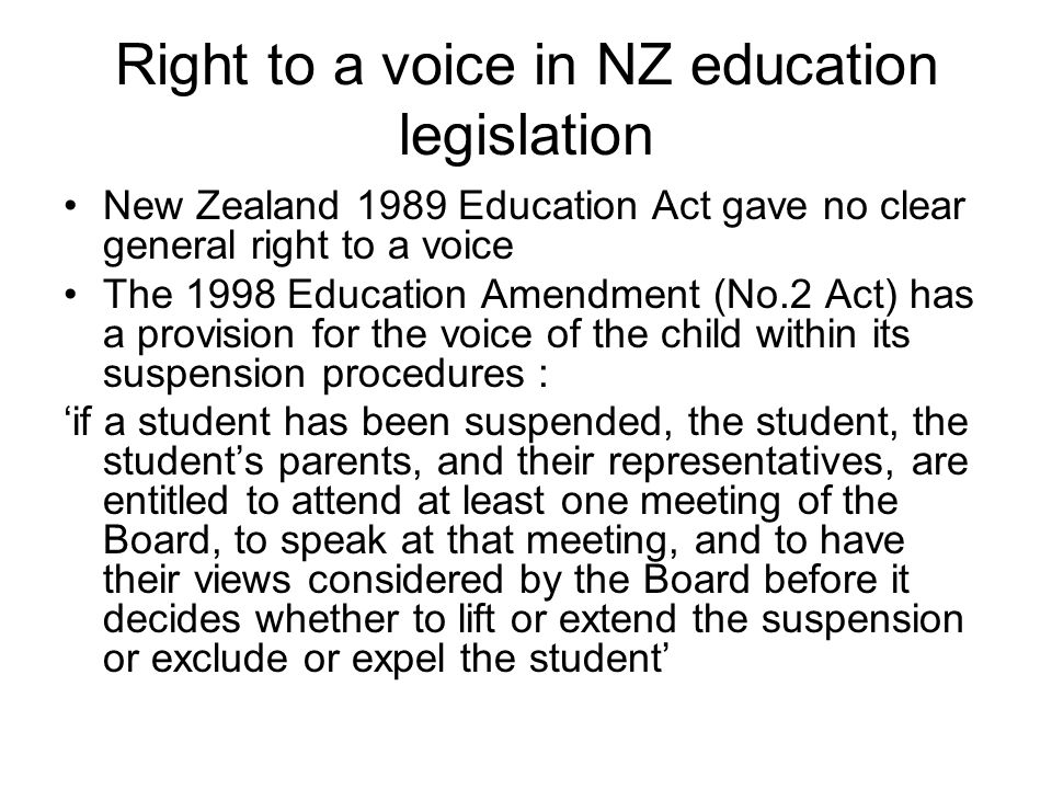 Right to a voice in NZ education legislation