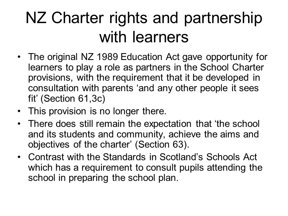 NZ Charter rights and partnership with learners