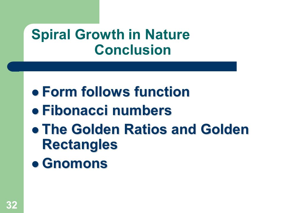 Spiral Growth in Nature Conclusion