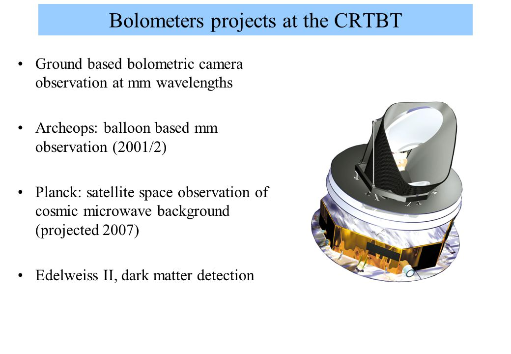 Bolometers projects at the CRTBT