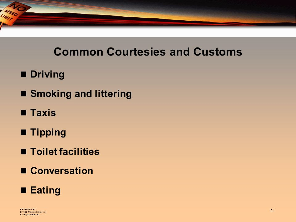 Common Courtesies and Customs