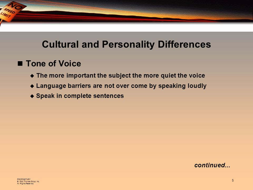 Cultural and Personality Differences