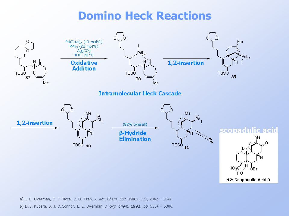 Domino Heck Reactions a) L. E. Overman, D. J. Ricca, V. D. Tran, J. Am. Chem. Soc. 1993, 115, 2042 – 2044.