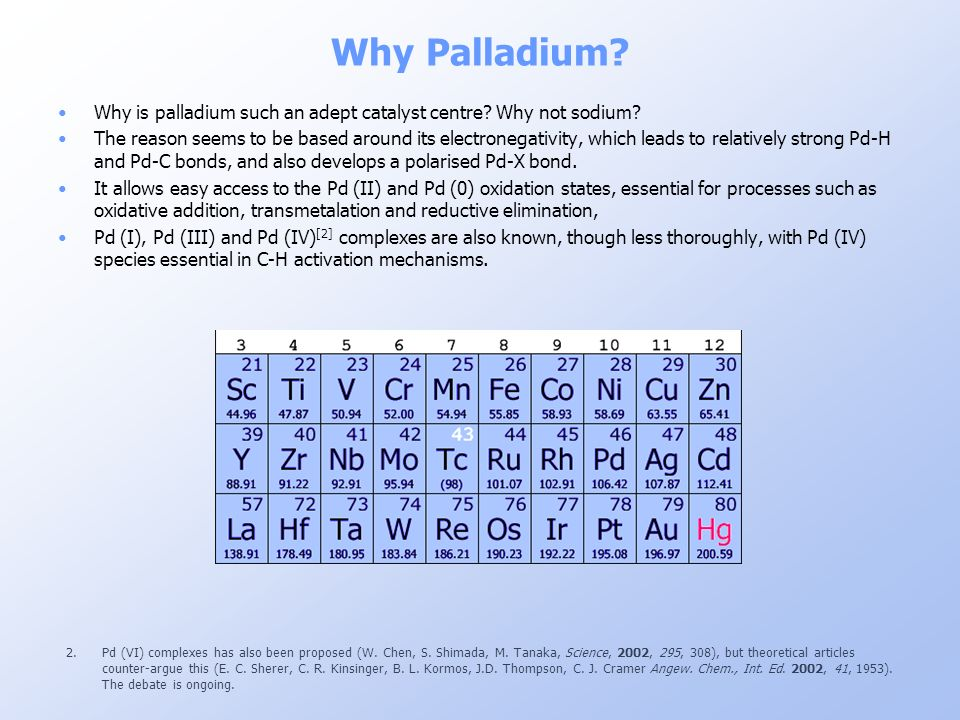 Why Palladium Why is palladium such an adept catalyst centre Why not sodium