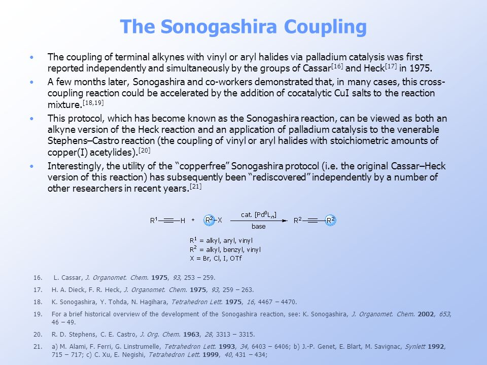 The Sonogashira Coupling