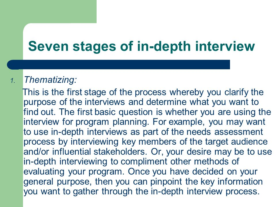 Seven stages of in-depth interview