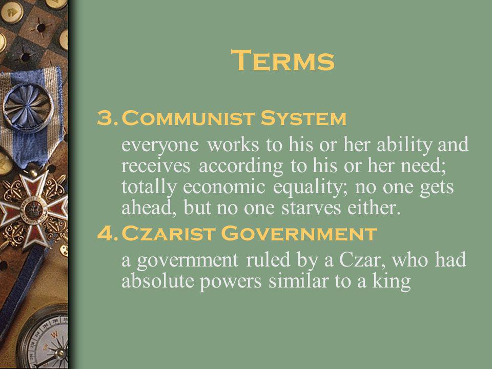 Terms Communist System
