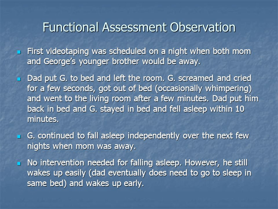 Functional Assessment Observation